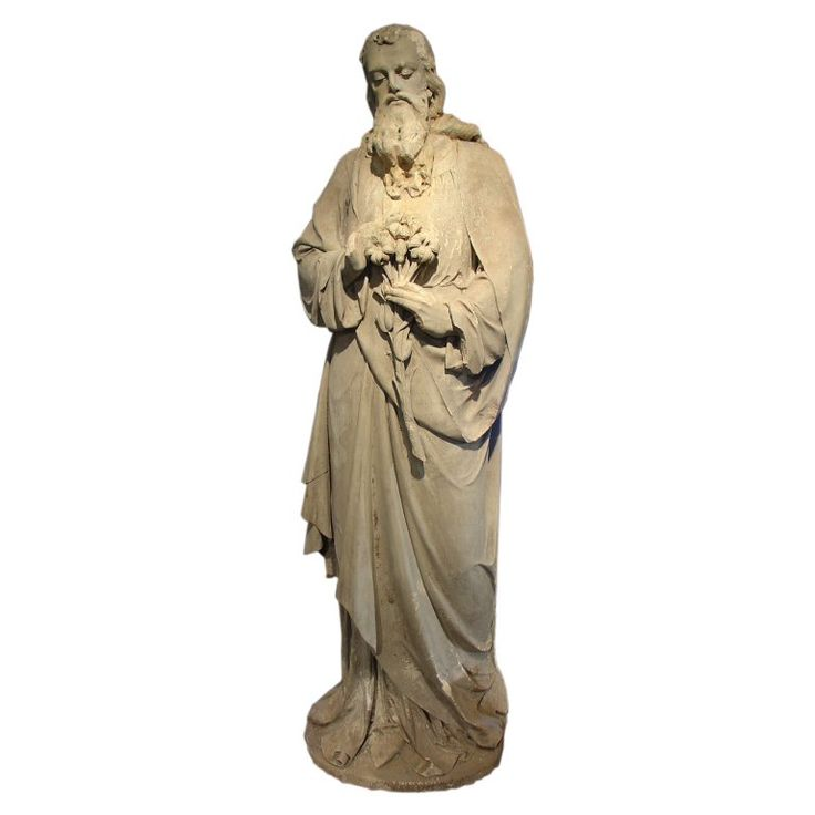 Antique Stone Statue of St. Joseph-Late 1800s | From a unique collection of antique and modern statues at https://www.1stdibs.com/furniture/building-garden/statues/