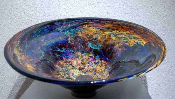 """Orion's Nebula"" -  Glass Sink, Vessel Sink, Baptismal Font, Glass Sinks, Glass Vessel Sinks, Hand Blown Glass Sink, Glass Bowl Sink and Glass Pedestal Sink"