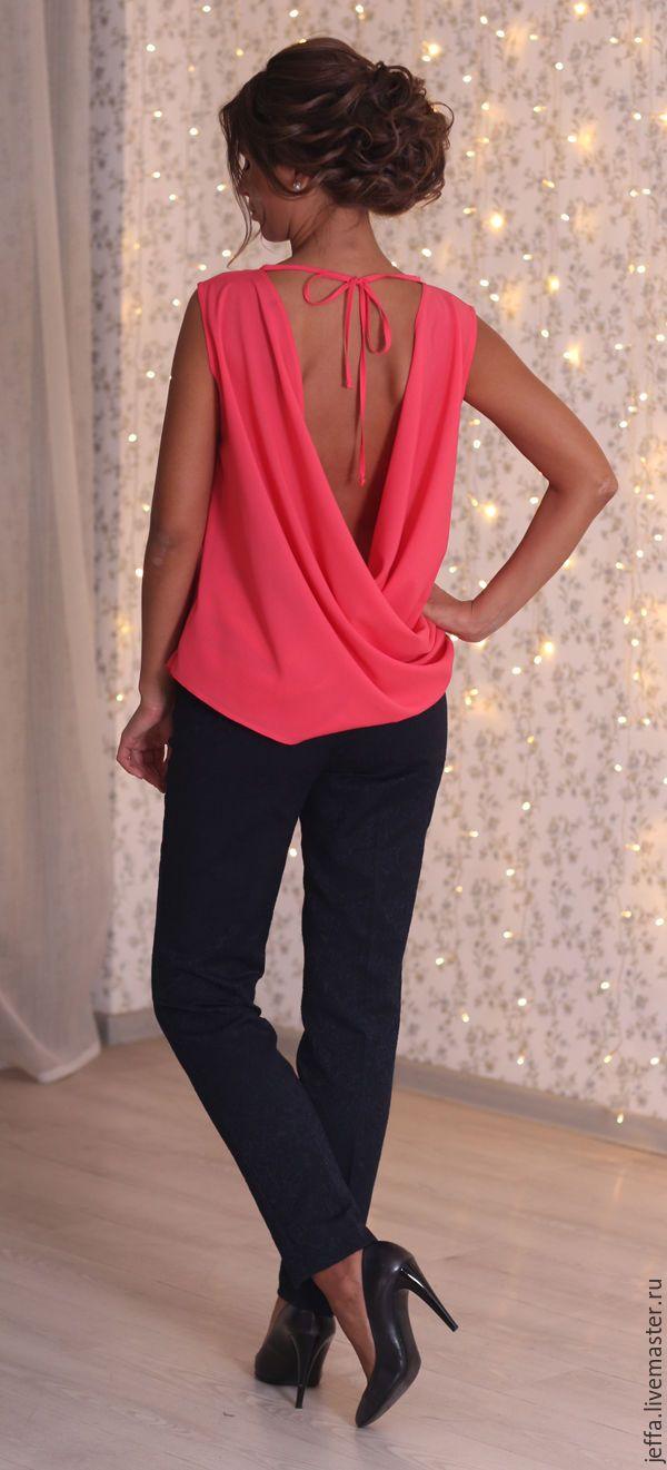 Купить Блузка из крепа арт.1279 - коралловый, однотонный, модная одежда, блузка нарядная