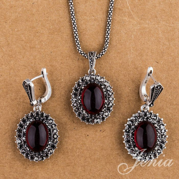 Jenia Vintage joyería plateada de plata marcasita rojo granate pendientes y colgante del collar de XS150