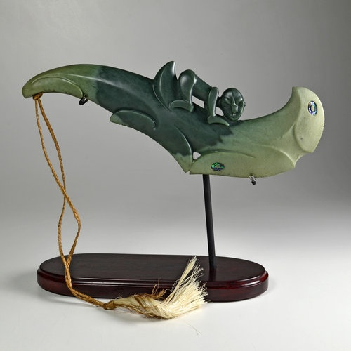This sculpture was completed by Lewis Gardiner to represent Maori pounamu jade art from New Zealand and was exhibited in two international jade festivals in Santa Barbara and Jade Cove, California USA, during May to September 2011.