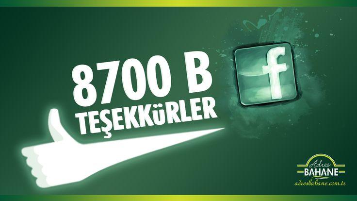 Adres Bahane Facebook Medya Ağı 8700 B Beğeni Sayısına Ulaştı ! http://adresbahane.com.tr/