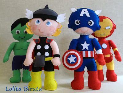 Bonecos super heróis em feltro