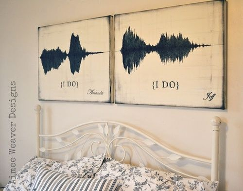 the sound waves of the couple saying I do