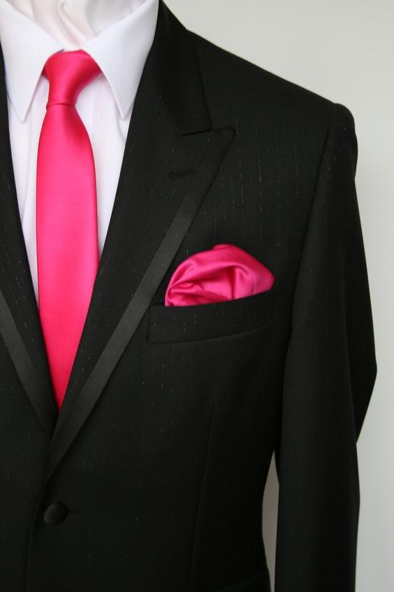 Groomsmen wear gray, ushers in fuchsia / http://www.deerpearlflowers.com/fuchsia-hot-pink-wedding-color-ideas/