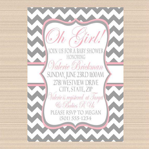 Oh Girl Baby Shower Digital Invitation, Modern Grey and Pink Chevron on Etsy, $12.00