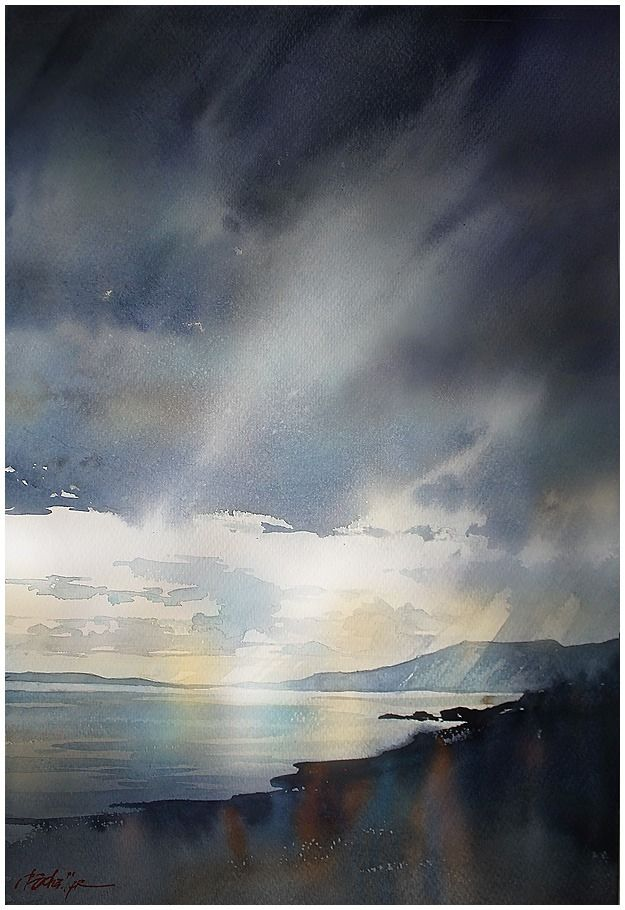 """where the mountains sweep down to the sea"" mourne - northern ireland thomas w schaller watercolor on saunders waterford - 140lb. rough. 24x18 28 aug 2014"