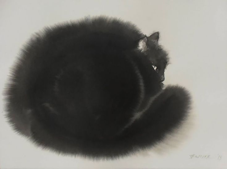 cats-2. Serbian artist Endre Penovác renders fluffy felines with stark black watercolors and ink. Penovác heavily dilutes the pigments with water creating small rivers and splotches that perfectly mimic the texture of fur.