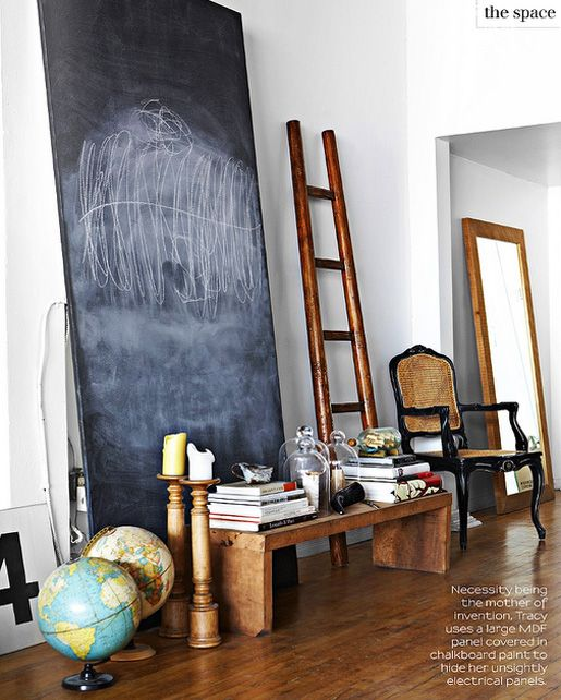 : Ladder, Good Ideas, Child Rooms, Chalkboards Paintings, Chalkboards Art, Chalk Boards, Little Spaces, Texture Wall, Chalkboards Wall