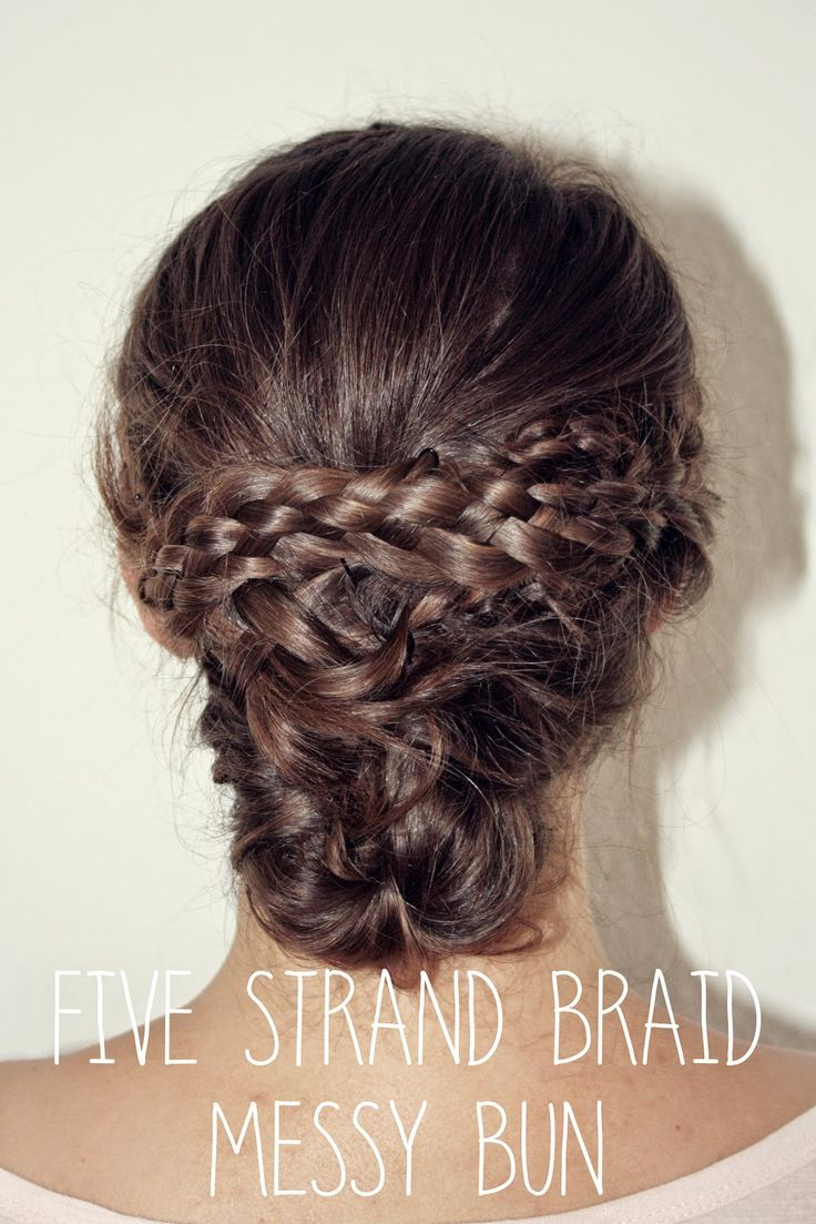 Five Strand Braid and Messy Bun