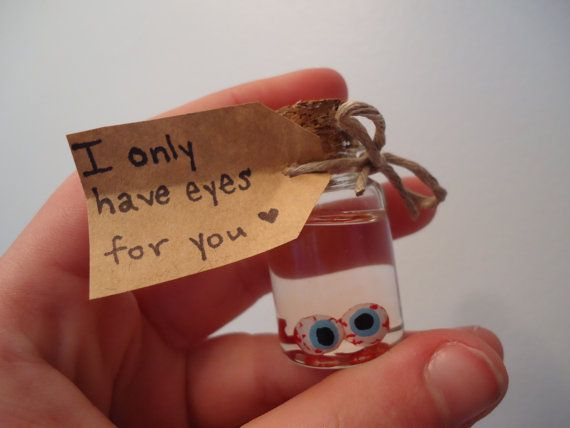 When a card just won't cut it! Geeky Anatomical Valentine  For him or for her  I Only Have Eyes For You handmade eyeballs in jar Valentine with personalized custom written or stamped note by SHOWPONYSTORE, $12.00 Valentine's Day Funny Goth Morbid Anti Valentine