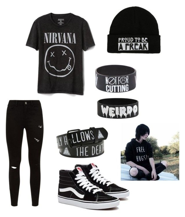 """""""Emo nirvana outfit"""" by addist082407 on Polyvore featuring Gap, Hot Topic, men's fashion and menswear"""