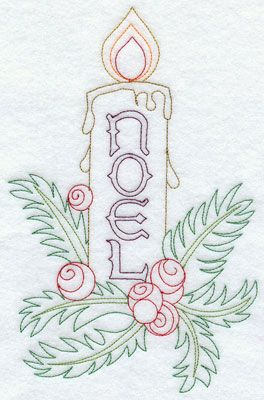 A Noel candle and holly machine embroidery design.