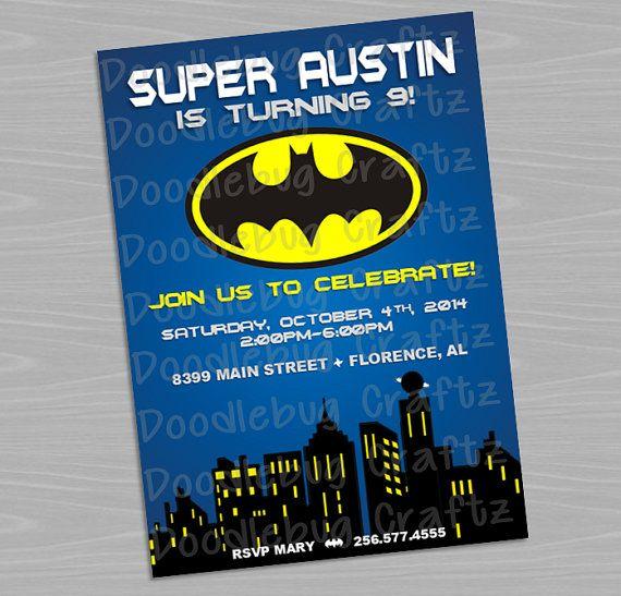 Batman Custom Printable Birthday Party Invitations