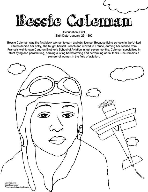 Bessie Coleman   Delightful Doodles Coloring Fun ...