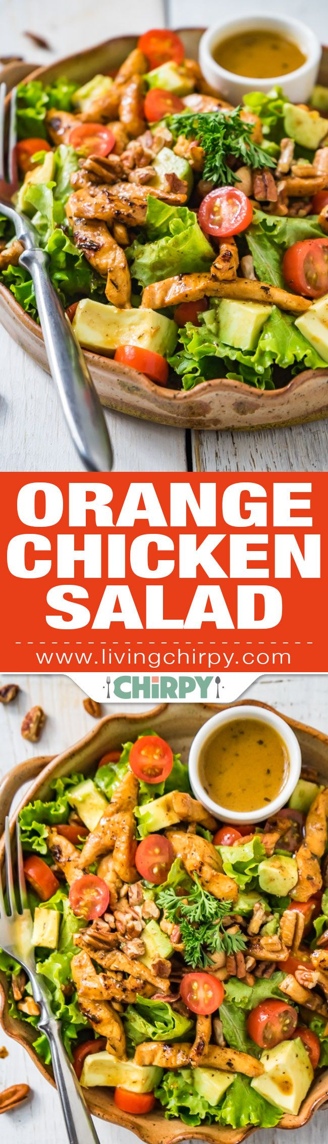Orange Chicken Salad - green leaf lettuce topped with cherry tomatoes, avocado, pecan nuts and chicken with a warm orange dressing.