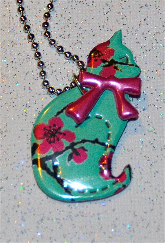 Recycled Soda Can Art SMALL Kitty Cat Necklace by apmemory on Etsy, $4.95