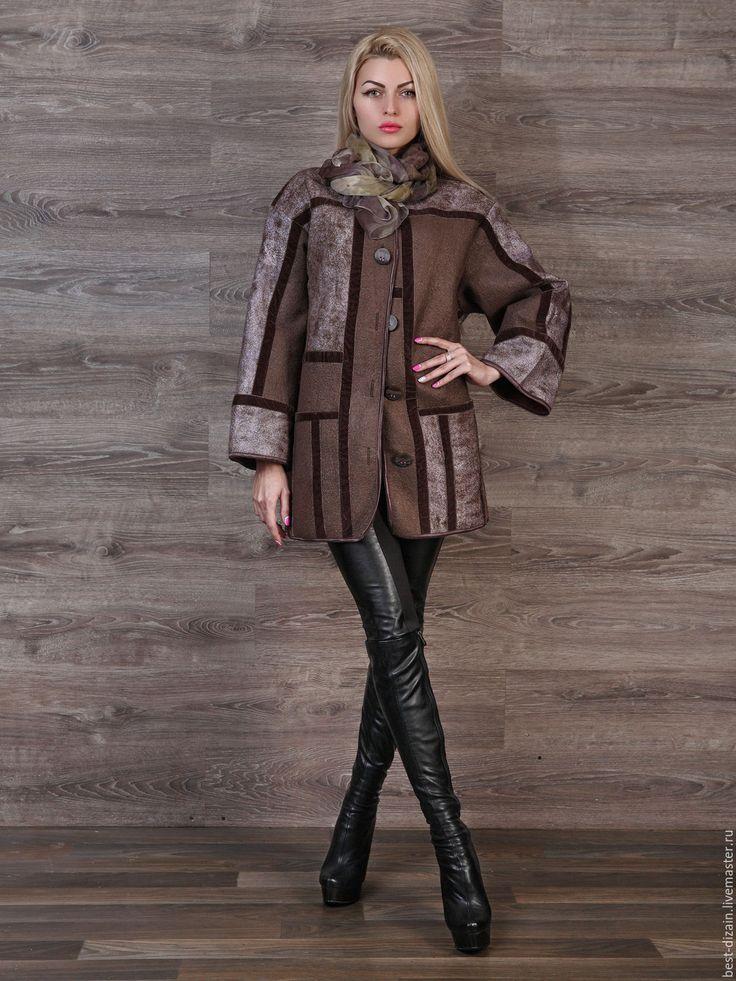 Купить Валяная куртка « Шоколадный зефир» - коричневый, валяная куртка, куртка валяная