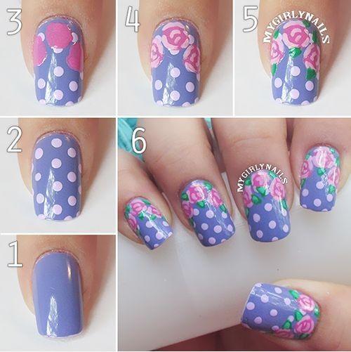 Hermosas uñas con estampado floral y de topitos - http://xn--decorandouas-jhb.com/hermosas-unas-con-estampado-floral-y-de-topitos/