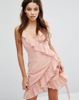Club L Cami Strap Ruffle Detailed Wrap Chiffon Dress