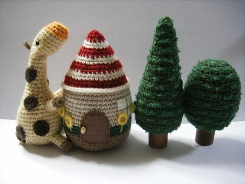 Crocheted House, Tree and Cow