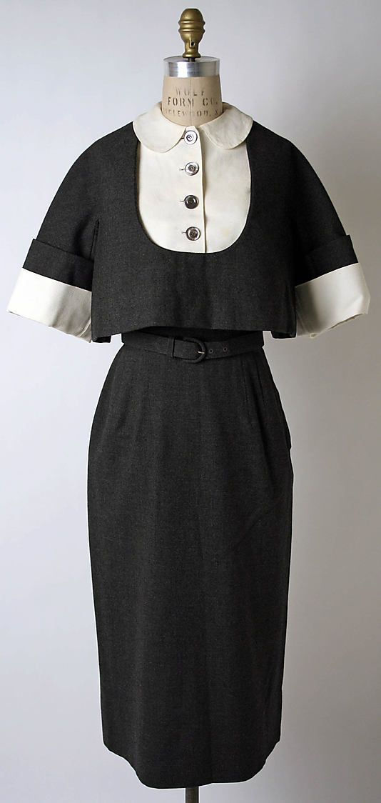 Grey wool dress with matching belt (with matching grey wool overblouse and white cotton dickie and cuffs), by Norman Norell for Traina-Norell, American, ca. 1950.