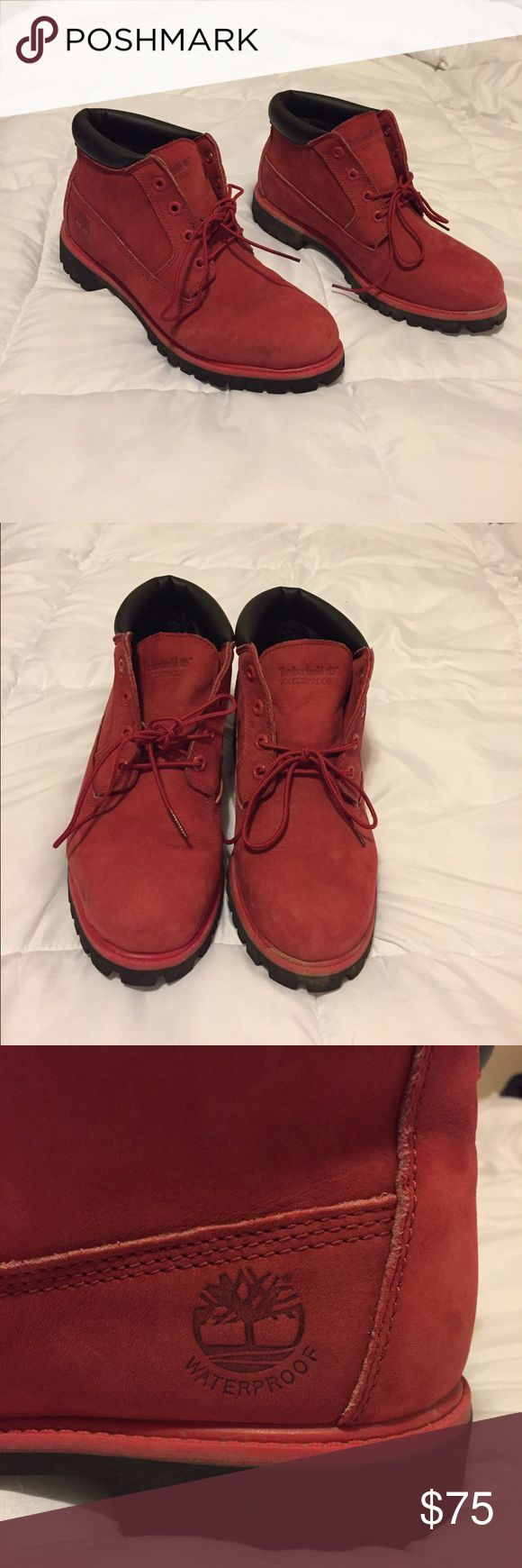 *FOR SALE!* Authentic Red Timberlands! Worn a handful of times but in VERY GOOD condition! These are genuine leather and suede! MAKE OFFERS!!  NO low ballers! Timberland Shoes Boots