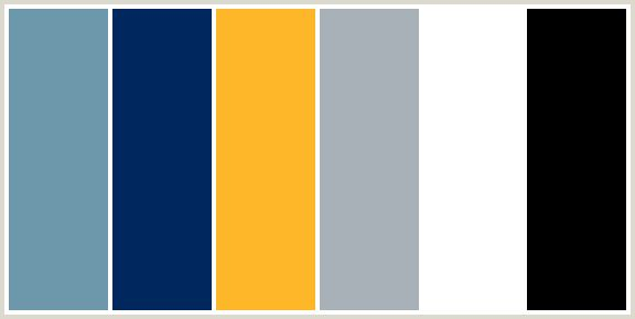 Black, white, light grey, navy blue, medium blue and golden yellow color scheme
