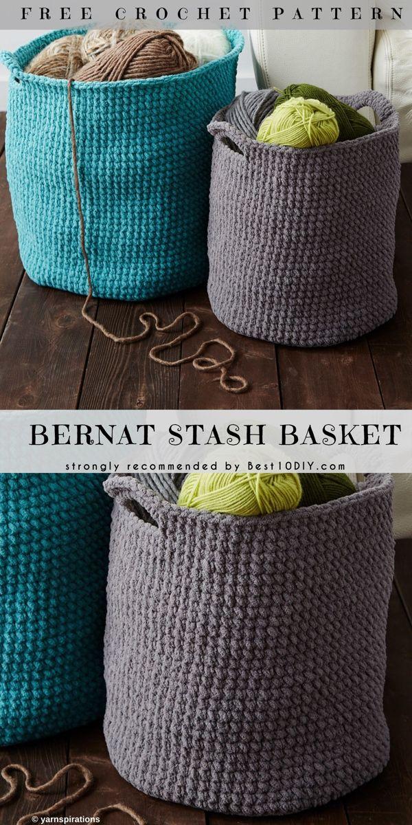 Bernat Stash Baskets Skill Level Beginner Crochet Freecrochetpattern Crochetstitch Cr Crochet Basket Pattern Free Crochet Storage Crochet Storage Baskets