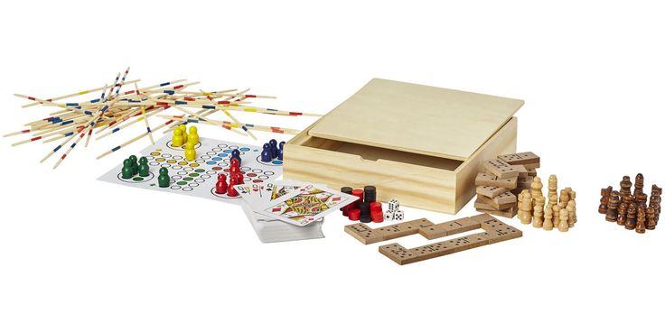Set de juegos de madera que contiene varios juegos como: backgammon, ajedrez, damas, dominó, ludo, mikado y juegos de cartas. Una parte de la tapa es para la grabación y en la parte trasera está el tablero de ajedrez.  Incluye un papel extra para los juegos de ludo y backgammon.  Instrucciones incluidas.  Madera.  Medidas: 17x4,10x17 cm. Para más información, escríbenos a: berimport@berimport.es #juegosdemesa #regalo