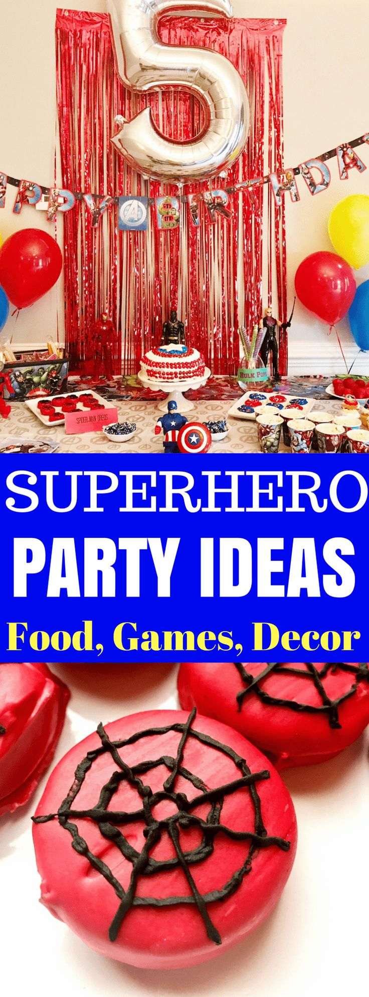 Check out these Superhero Party Ideas - perfect for birthday parties, kids parties, Halloween parties and more for your favorite superhero and Avengers fans! I've got a Captain America cake, Spider-Man Oreos, and Avengers party games!