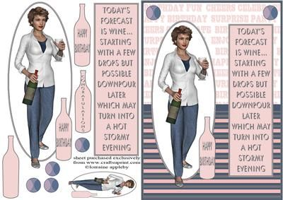 CUP622729_1566 - Fun card for all us ladies who enjoy a wine. Easy cuts and quick to make up. There are two tags and a blank, a smaller top...
