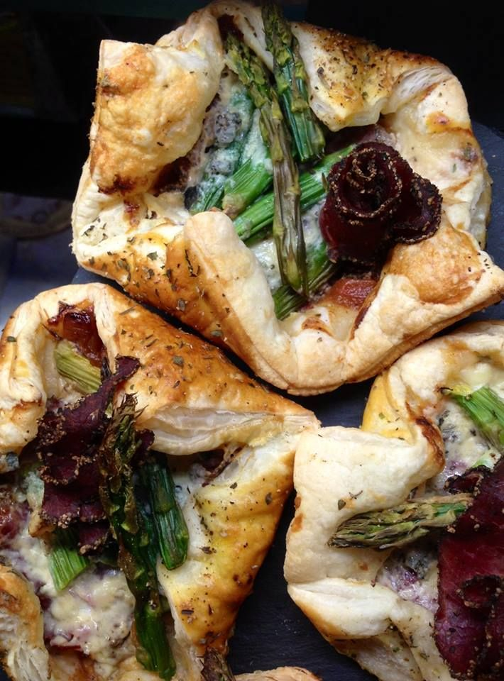 blue cheese, asparagus and pastrami pastry