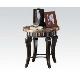 ACMEF80069-Brown Marble Top End Table