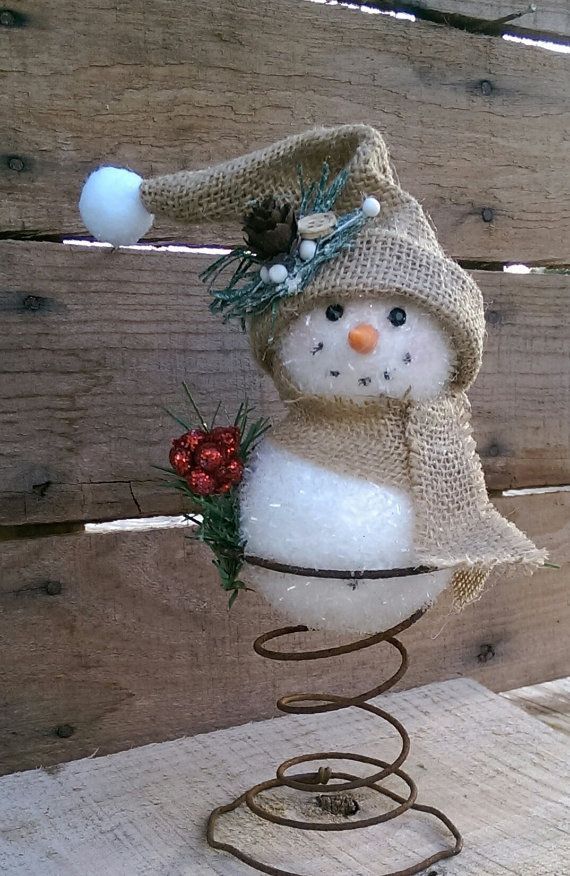 Rustic Christmas Tree Topper Bed Spring Snowman by FunkyJunktique