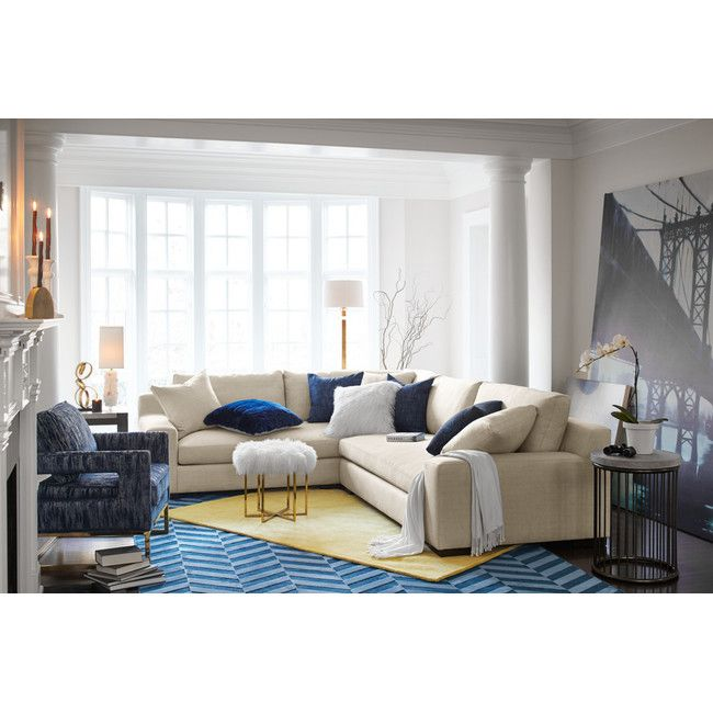 Ethan Comfort 2-Piece Sectional with Right-Facing Loveseat - Cream | Value City Furniture