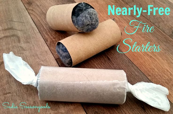 Brrrr...winter is officially here! So why not keep a stash of these nearly-free fire starters on hand for your fireplace? So easy to do, using only three ingredients: Dryer Lint, Empty Toilet Paper Tube, and Waxed Paper. #SadieSeasongoods