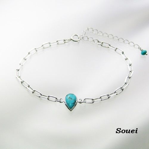 Turquoise ターコイズ ブレスレット (ペアシェイプカット)  #Souei#silveraccessory #Turquoise #bracelet #Souei #ターコイズ