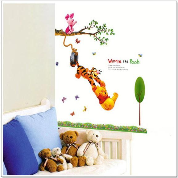 Find More Wall Stickers Information about Winnie bear wall stickers porta retrato parede wall decals kids room children room wholesale wall sticker,High Quality kids modern wall art,China kid tiger Suppliers, Cheap kids car wall decals from Funbuy  on Aliexpress.com