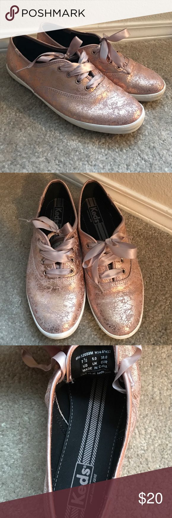 Keds Champion Sneakers - Rose Gold Leather - 7.5 This pair of Keds is a size 7.5 (could probably also fit an 8). I wear a 7-7.5 wide and these are a bit too long. Therefore, they've only been worn once and are in excellent used condition--almost new! They have leather uppers that are a kind of cracked metallic rose gold. Not too flashy or obnoxious, but definitely just a little fancy :) They come with matching satin shoelaces, but would also go with white (not included). Keds Shoes Sneakers
