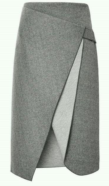 Uma forma de fazer a saia reta com um detalhe a mais. Este modelo foi desenhado pelo estilista Dion Lee. Segue esquema de modelagem do 36 ao 56.