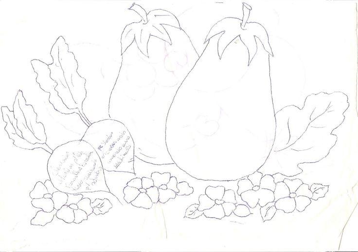 Arte com tinta e linha - By Inês Andrade: Riscos para pintura em tecido...Com flores, frutas e flores e frutas...