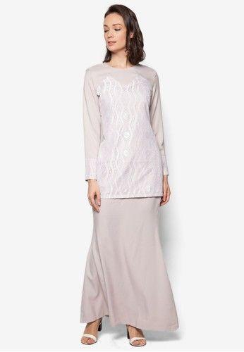 Baju Kurung Modern from Gene Martino in grey_1