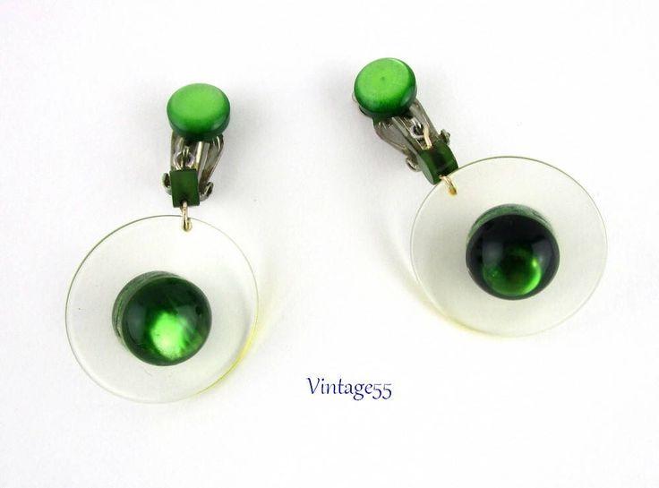 Green Moon glow Earrings Japan Retro Vintage by Vintage55 on Etsy https://www.etsy.com/listing/571186229/green-moon-glow-earrings-japan-retro