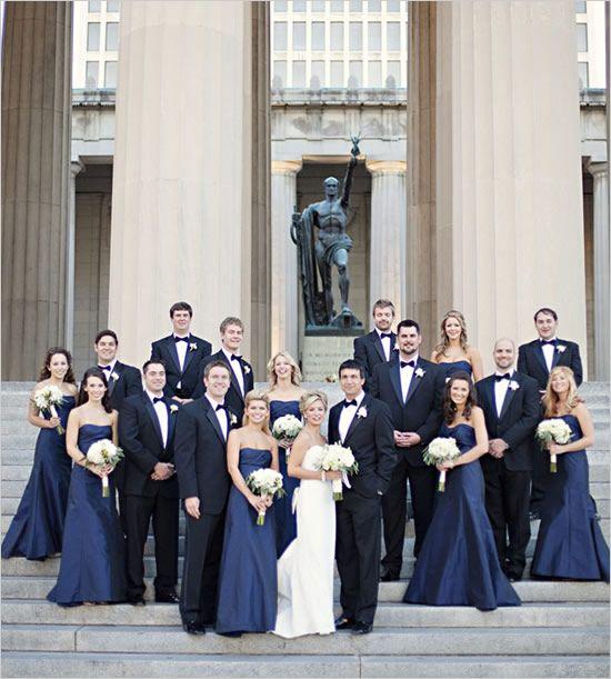 tennessee black tie wedding by kristyn hogan long ties gray and navy blue bridesmaids. Black Bedroom Furniture Sets. Home Design Ideas