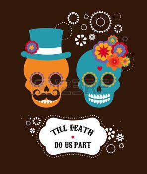 cute skull: Invitación de la boda mexicana con dos cráneos lindos inconformista Vectores