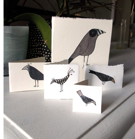 Pack of  5 bird cards. Hand made unique by Bagardcardsandcrafts