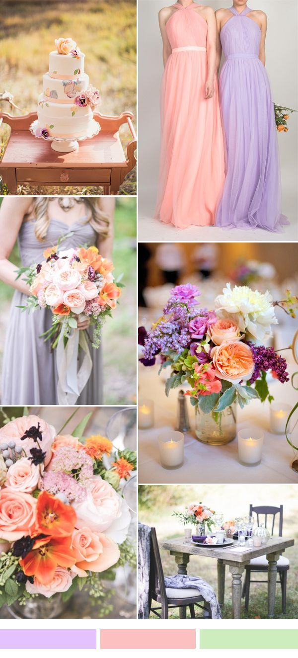 pink and lilac wedding color ideas and tulle bridesmaid dresses