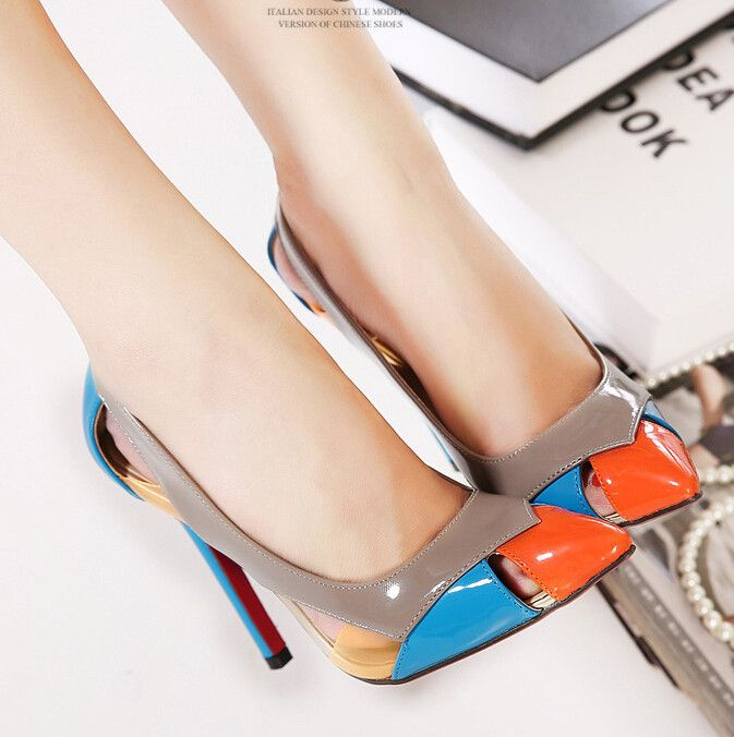 Spring summer 2015 new Genuine leather shallow mouth with pointed high heeled all match sexy and elegant women shoes