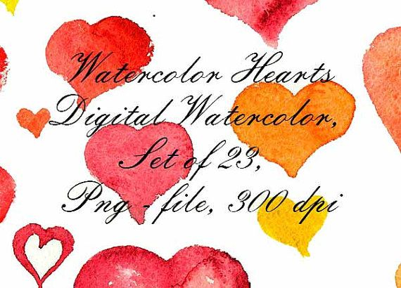 Watercolor Hearts Watercolor Clip Art Digital от VectorGraphicArts